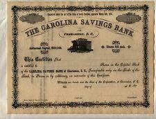 Carolina Savings Bank Stock Certificate Charleston South Carolina