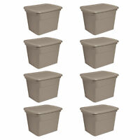 Sterilite 18 Gallon Plastic Stackable Storage Container with Lid, Taupe (8 Pack)