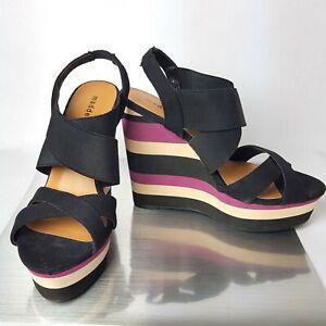 Madden Girl CAPPE Slingback Multi Color Wedge Platform Heels Size 7 Black Purple