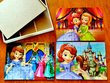 Set of 3! Disney Princess Sofia the First!  24 Pc. Wooden Puzzles in Box