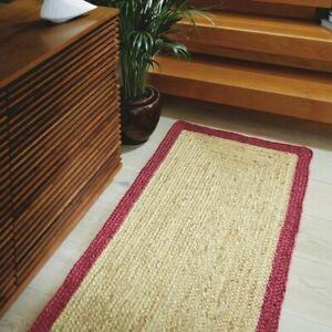 Rug 100% Natural Jute Braided style 2x2 Feet Runner Rug Living Area Carpet Rug