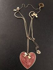 Betsey Johnson Heart Necklace With Mini Bows