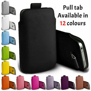 A Protective Pull Tab Phone Case Cover Pouch Slim Sleeve PU Leather For Samsung
