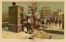 ENGLISH SANTA CLAUS WITH CANE AND BAG OF TOYS OVER SHOULDER BRITISH PUG REINDEER