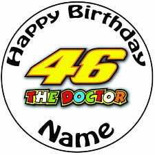 """Personalised Doctor 46 Valentino Rossi Icing Cake Topper Easy Pre-cut Round 8"""""""
