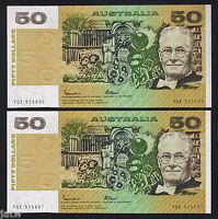 R-509a. (1985) 50 Dollars - Johnston/Fraser.. Gothic.. UNC - CONSECUTIVE Pair