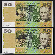New listing R-509a. (1985) 50 Dollars - Johnston/Fraser. Gothic. Unc - Consecutive Pair