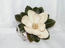 Beautiful Magnolia Flower Sculpture Table Top Decor w/ Branch and Green Leaves