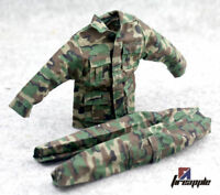 1:6 Soldiers Jungle Camouflage Combat Uniforms Male Clothing Suits F 12'' Body