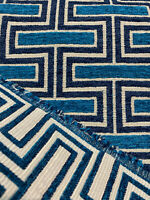 Theseus Navy Blue Backed Chenille Swavelle Upholstery Fabric By The Yard