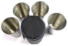 4er Set Schnapsgläser 70ml Schnapsbecher-Set aus Stahl Inox Etui aus Kunstleder