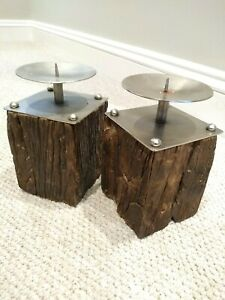 Distressed Wooden candlesticks