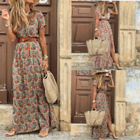 Womens Stretch Party sexy Loose Long Dresses Ladies Beach Maxi Wrap Dresses