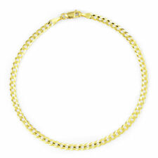 "Curb Chain Bracelet or Anklet 9in 9"" Solid 14k Yelllow Gold Real 3mm Women Cuban"