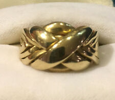 14K SOLID YELLOW GOLD 8 BAND PUZZLE RING - SIZE 10