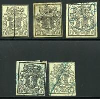 GERMANY STATES HANOVER SCOTT#  2 MICHEL# 2 USED LOT OF 5  AS SHOWN