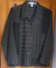 BONWORTH * Olive Drab Suede Cloth Combo Plaid JACKET BIG SHIRT Long /S XXL 1X