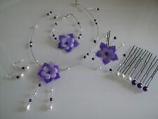 Parure Bijoux Blanc/Violet p robe de Mariée/Mariage fleur collier (pas cher)