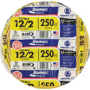 12/2 Romex Wire 12-2 AWG 250' Non-Metallic Cable Electrical Wire NM-B copper