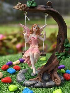 Swing fairy fairy garden fairy on swing garden decor fairy furniture pink