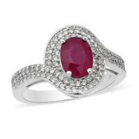 925 Sterling Silver Platinum Over Ruby White Zircon Halo Ring Jewelry Ct 3.4
