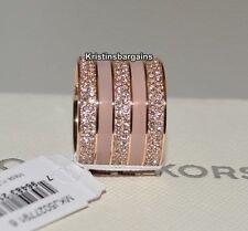 NIB Michael Kors Blush/Crystal Pave Stones Rose Gold Tone Ring Size 6 MSRP $145