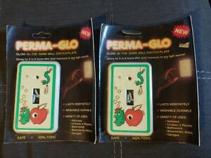 2 vintage 80s Perma-Glo Childs Light Switch Wall Plate Lot Glow Dark USA