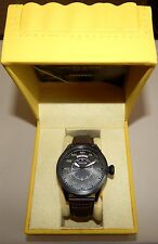Invicta 22975 Aviator Black Dial Stainless Steel Leather Strap Men's Watch NEW