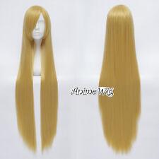 100cm Lang Cosplay Perücke Gelatt Japan Lolita Haarteile Blond Gold +Kappe Wig