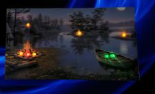 Wald Lagerfeuer Bild lein Wandbild Leuchtbild LED Leuchte Ruderboot