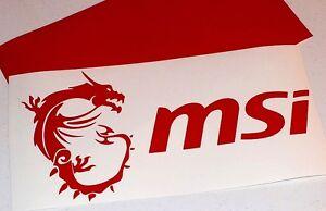 "12"" RED MSI w/ Dragon & Text Vinyl Decal Sticker Computer Pc Laptop Case Mod"