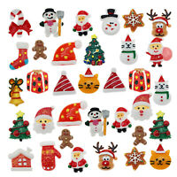 20pcs Resin Christmas Mixed Santa Snowman Cabochon Flatback Decor DIY Accessory