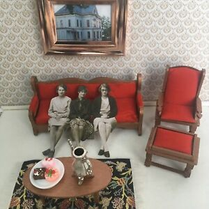 Vintage Dollhouse furniture lot living Room  1:12 Sofa Armchair Ottaman Table