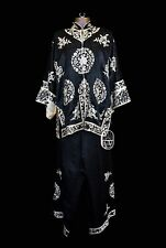 Antique Chinese 1940s Qing Dynasty Silk Embroidered Floral Satin Robe Vintage