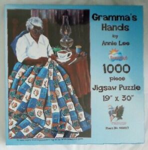 Sunsout Puzzle GRAMMA'S HANDS by ANNIE LEE 1000 Pieces QUILT Coffee Oil Lamp NEW