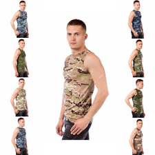 Russian T Shirt Sleeveless Summer Military Camouflage Camo Army Combat New