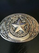 Silver Tone State of Texas Belt Buckle Very Detailed Texas Star