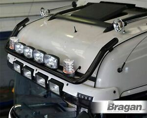 Roof Bar + Jumbo Spots x4 + Clear Beacon x2 To Fit Renault T Range Truck - BLACK