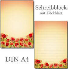 2 Schreibblöcke Mohnblumen Blüten A4 24 Blatt Briefpapier Motivpapier Briefblock
