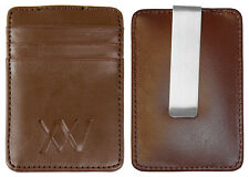 New men's money clip thin wallet ID credit card holder Brown