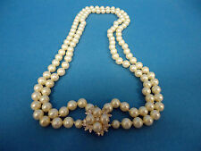 """ELEGANT FORMAL WEDDING DOUBLE STRANDED 22"""" GLASS PEARL AND RHINESTONE NECKLACE"""