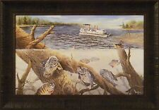 LADIES DAY OUT by Ray Mertes 18x26 FRAMED PRINT Lake Fishing Pontoon Crappies