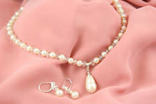 Bridal Fresh Water Pearl & Crystal Necklace w/ Earrings