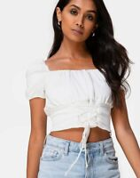 MOTEL ROCKS Ruiz Off The Shoulder Top in Satin Ivory S Small (mr35)