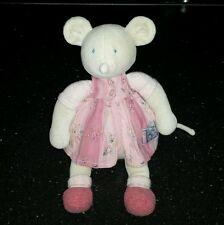 Peluche doudou souris MOULIN ROTY LILA PATACHON 28 cm rose et grise robe fleur