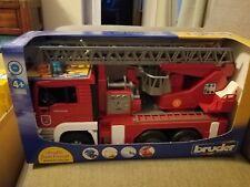 Bruder 02771 Man Fire Engine w/ Ladder, Water Pump & Light/Sound Module Toy NEW