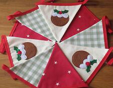 CHRISTMAS BUNTING HANDMADE ~ Christmas Pudding Red Stars Green Gingham