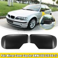 Pair Left & Right Door Mirror Cover Cap For BMW E46 E39 325i 330i 525i 530i 540i