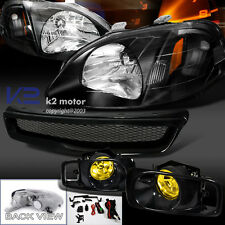 Black Fit 99-00 Civic Headlights+Amber Fog Lamps+T-R Mesh Abs Hood Grill Grille