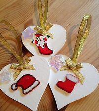 3 X Handmade Christmas Decorations Shabby Chic Heart Santa Hat Stocking Gold